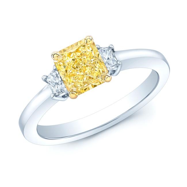 Prong Set Gia Certified Fancy Intense Yellow Diamond Engagement Ring In Platinum