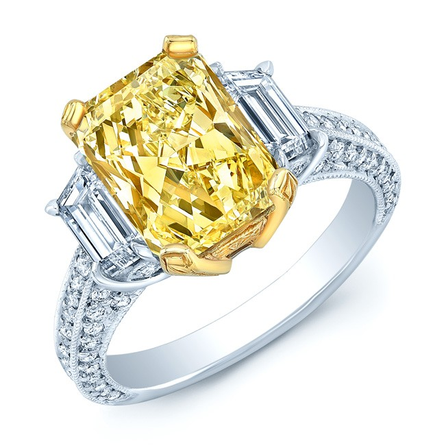 Prong Set Gia Certified Fancy Yellow Diamond Engagement Ring In Platinum
