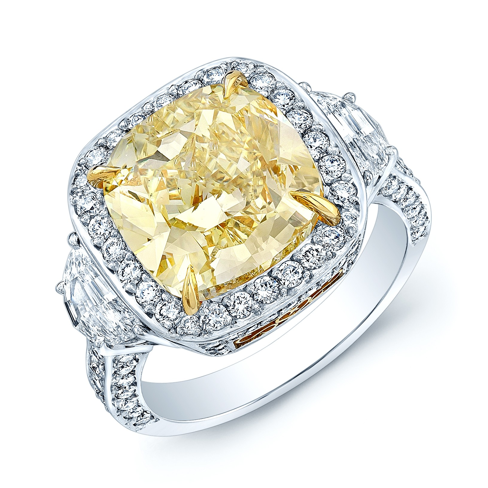 One Of A Kind Rare Gia 5.48 Carat Cushion Cut Fancy Yellow Diamond Halo Engagement Ring In Platinum