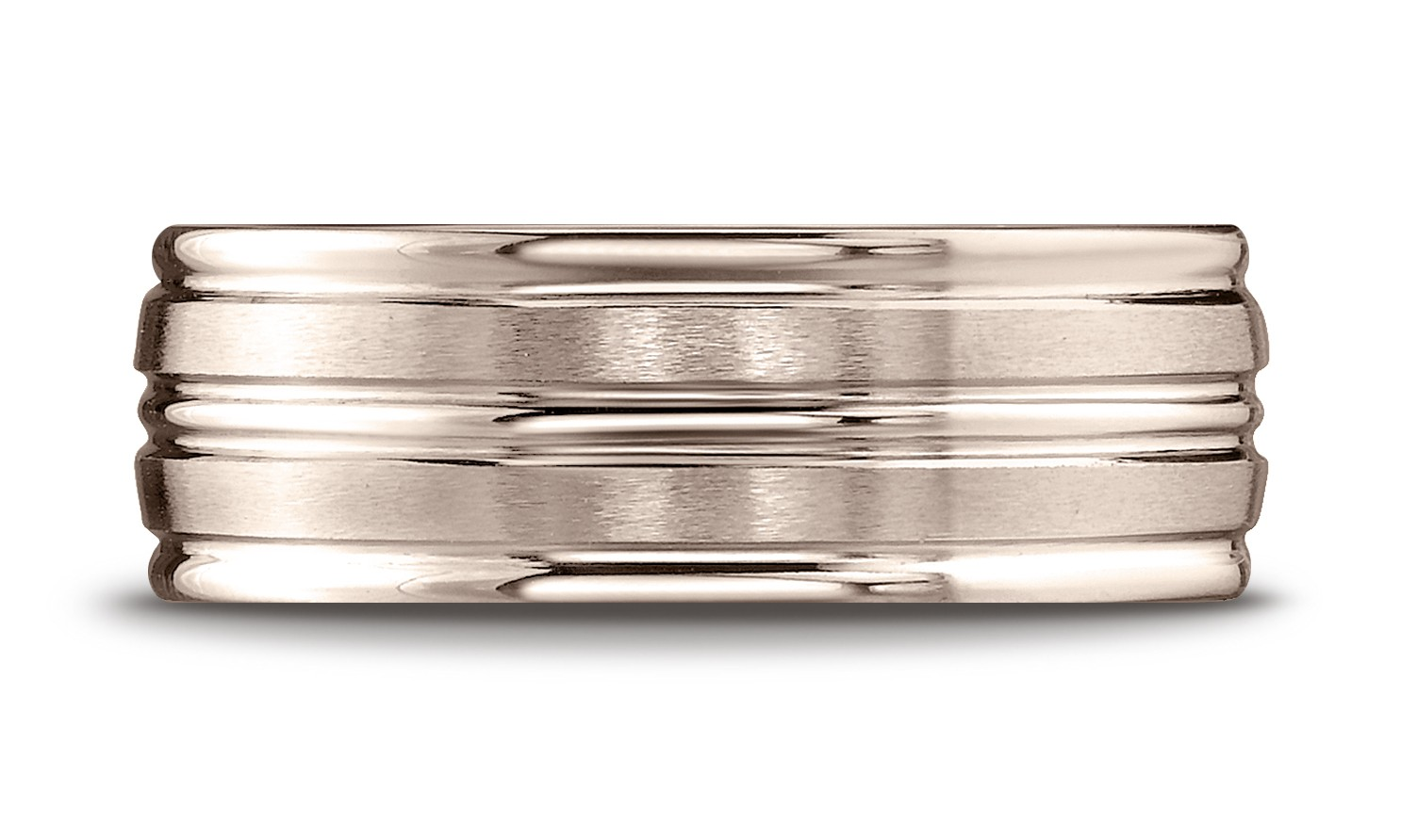 14k Rose Gold 8mm Comfort-fit Satin-finished High Polished Center Trim And Round Edge Carved Design Band