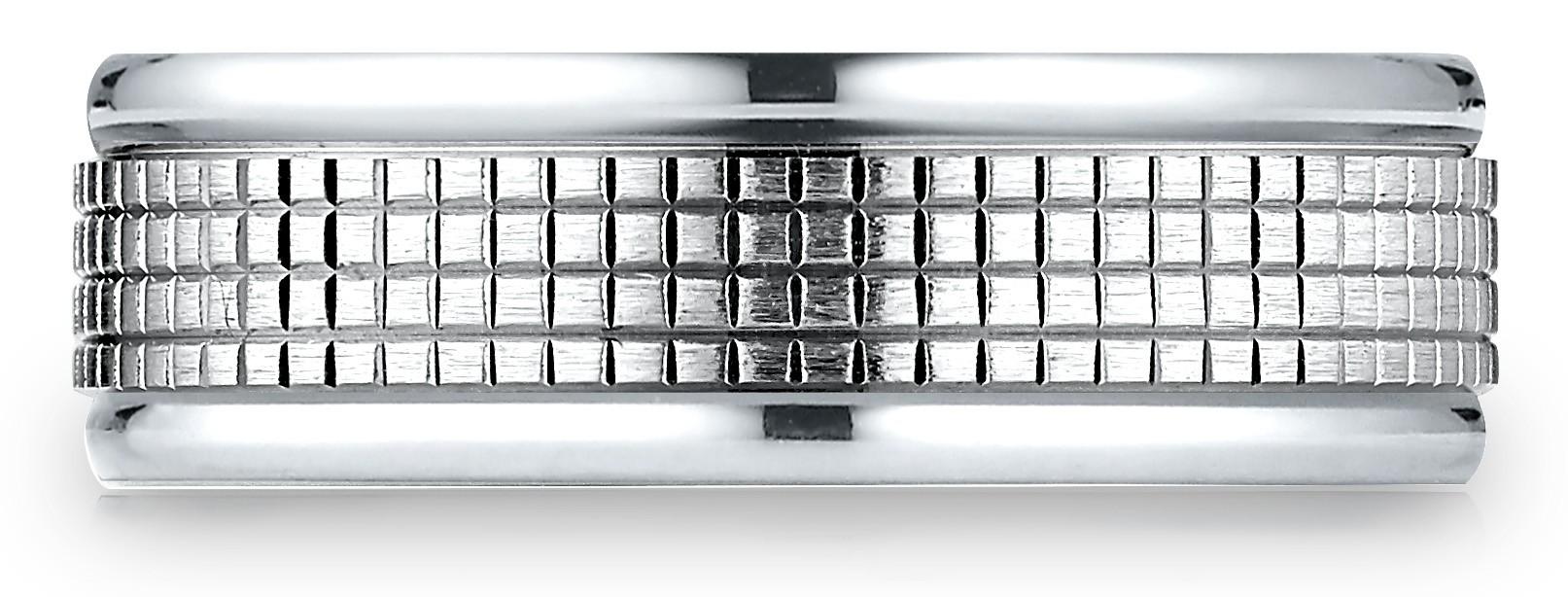 14 Karat White Gold 7mm Comfort-fit High Polish Round Edge Cross Hatch Center Design Band