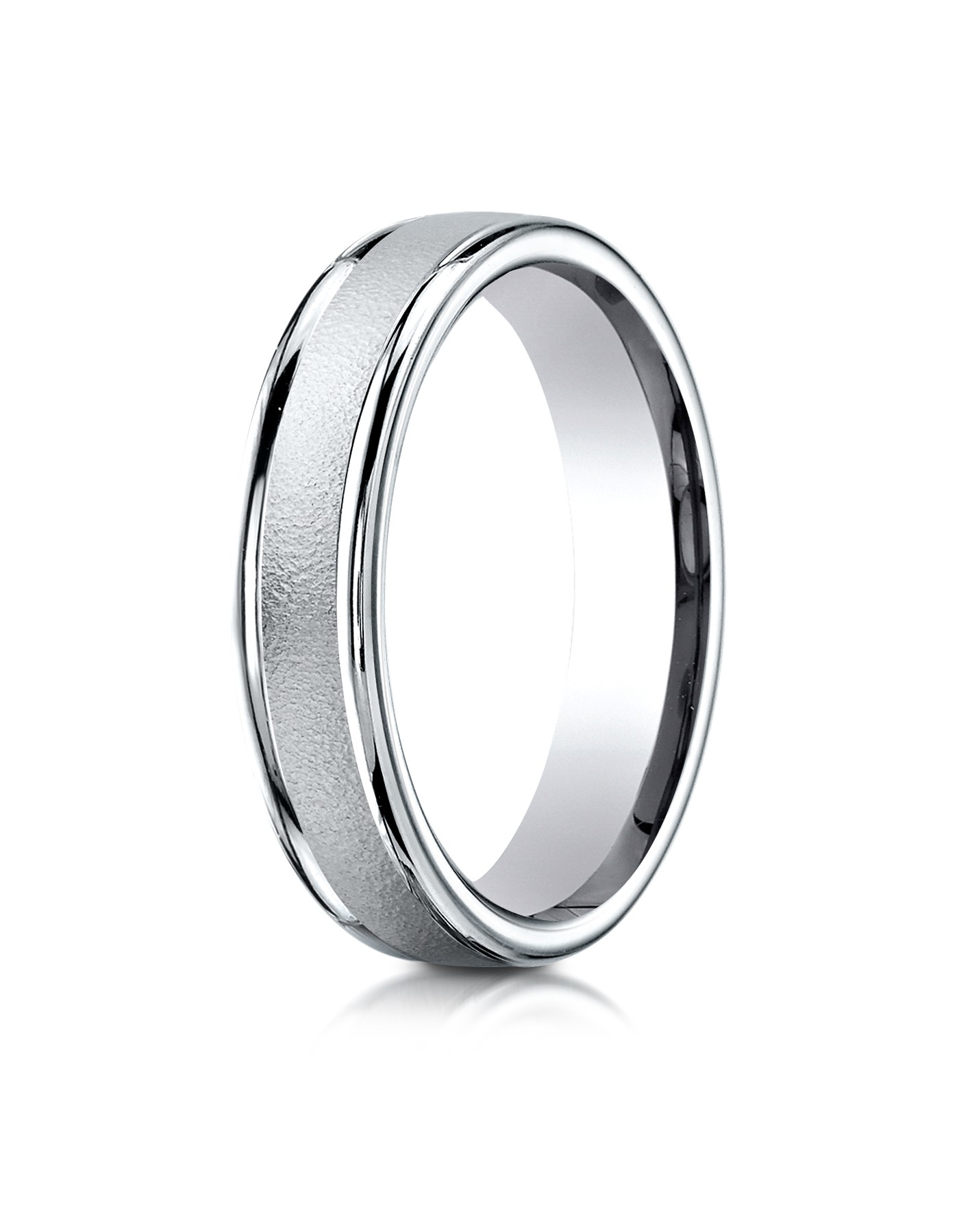 14k White Gold 4mm Comfort-fit Wired-finished High Polished Round Edge Carved Design Band