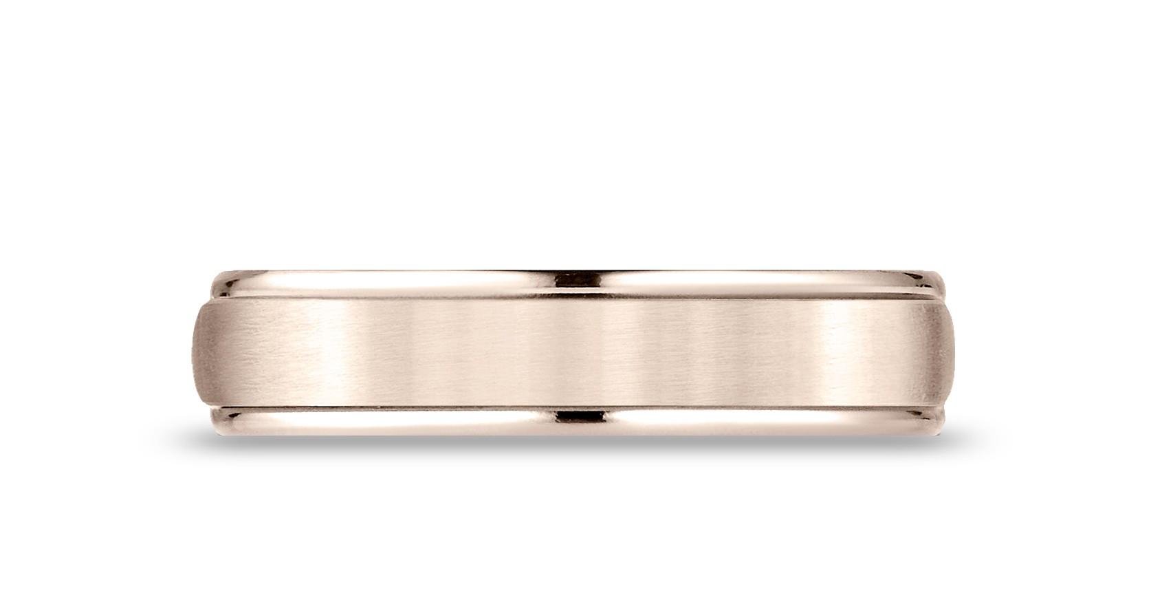 14k Rose Gold 5mm Comfort-fit Satin Finish High Polished Round Edge Carved Design Band