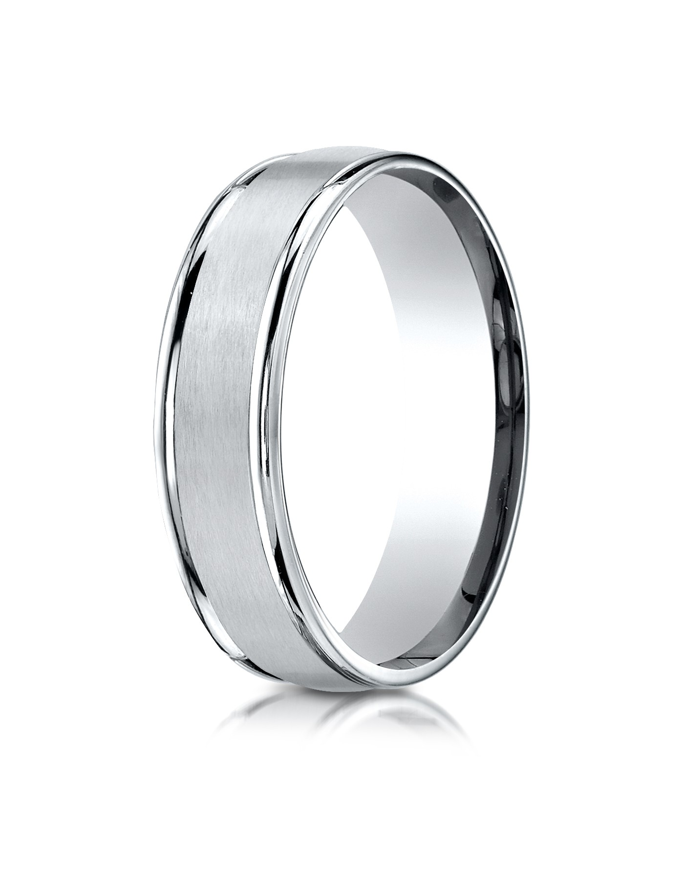 14k White Gold 6mm Comfort-fit Satin Finish High Polished Round Edge Carved Design Band