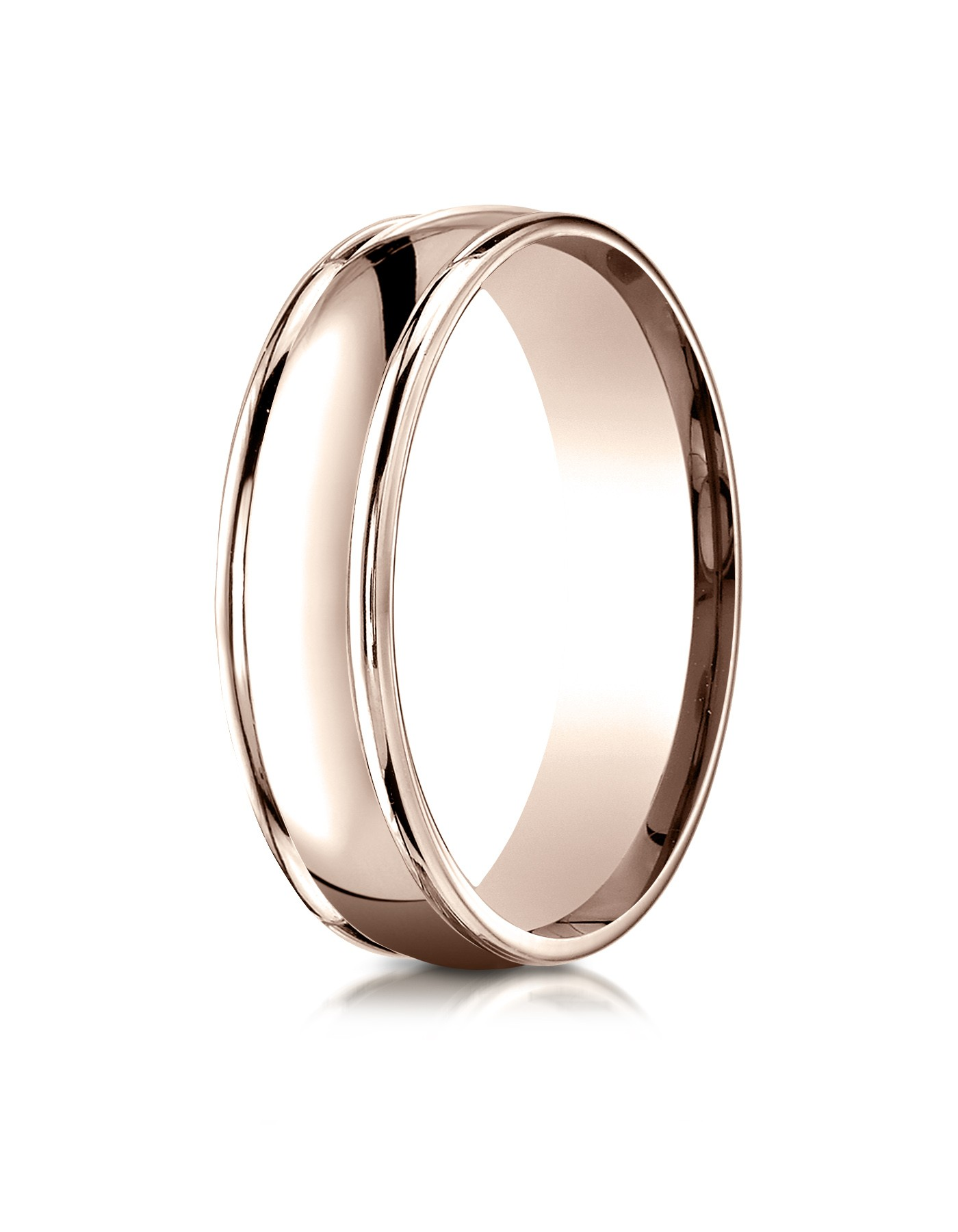 14k Rose Gold 6mm Comfort-fit High Polish Finish Round Edge Design Band