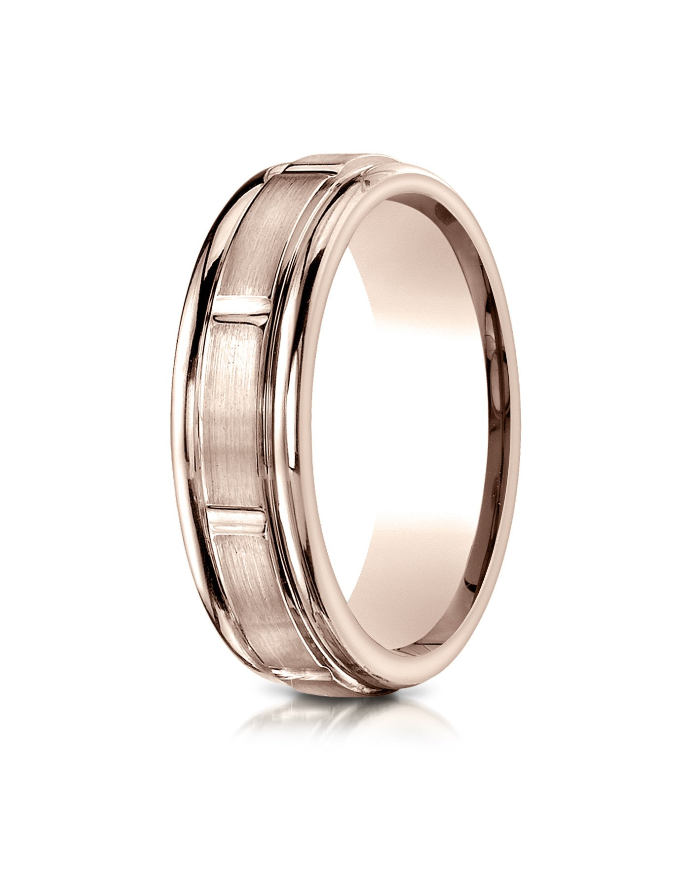 14k Rose Gold 6mm Comfort-fit Satin-finished 8 High Polished Center Cuts And Round Edge Carved Design Band