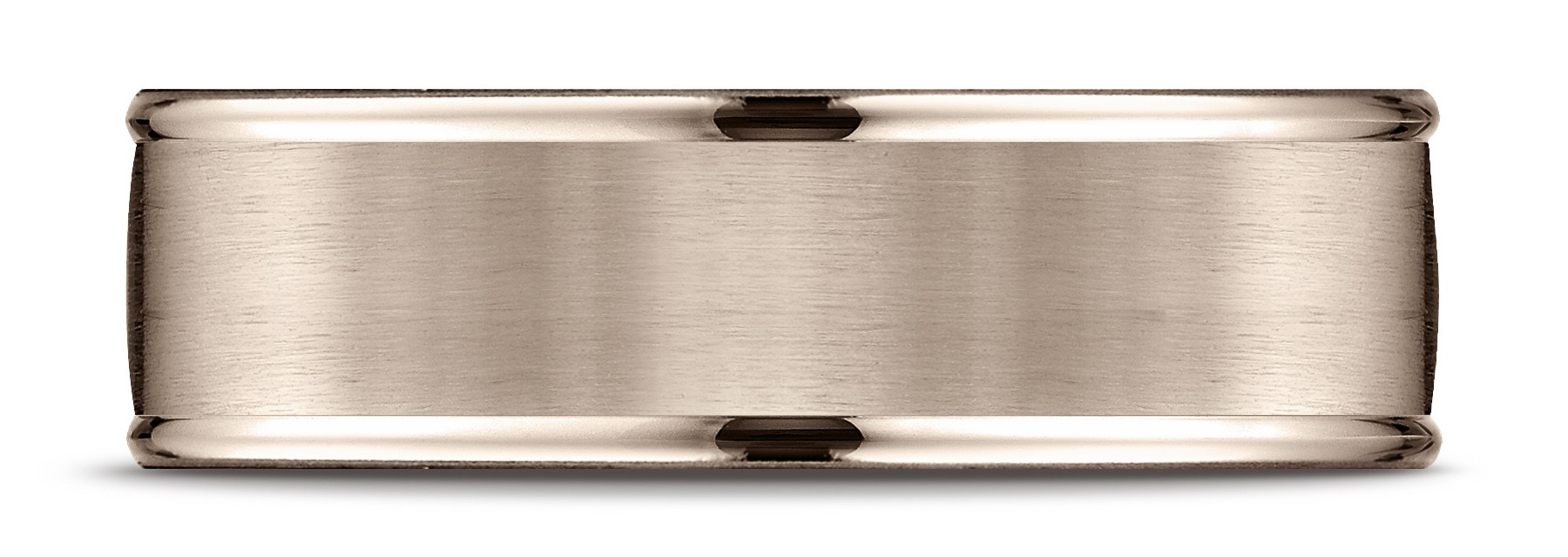 14k Rose Gold 7mm Comfort-fit Satin Finish High Polished Round Edge Carved Design Band