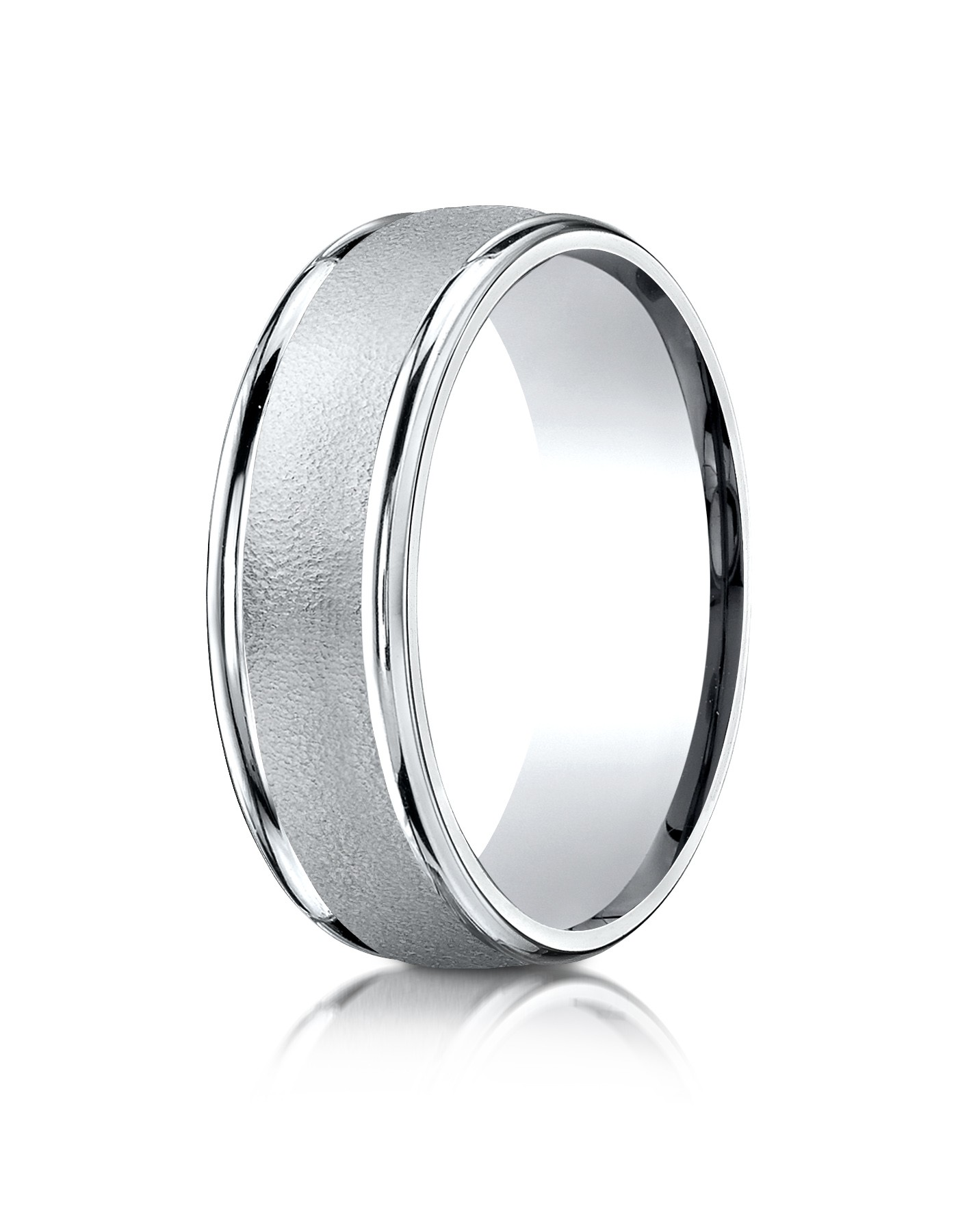 14k White Gold 7mm Comfort-fit Wired-finished High Polished Round Edge Carved Design Band
