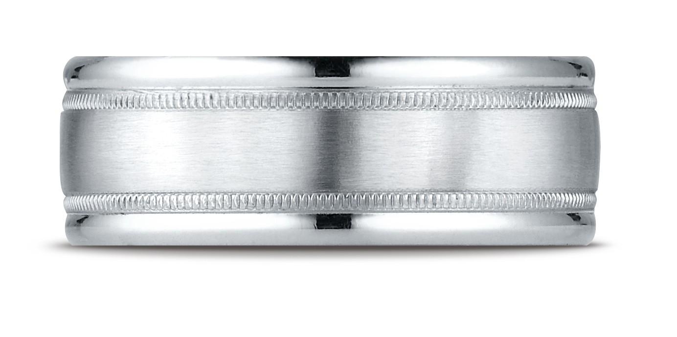 14k White Gold 8mm Comfort-fit Satin Finish Center With Milgrain Round Edge Carved Design Band