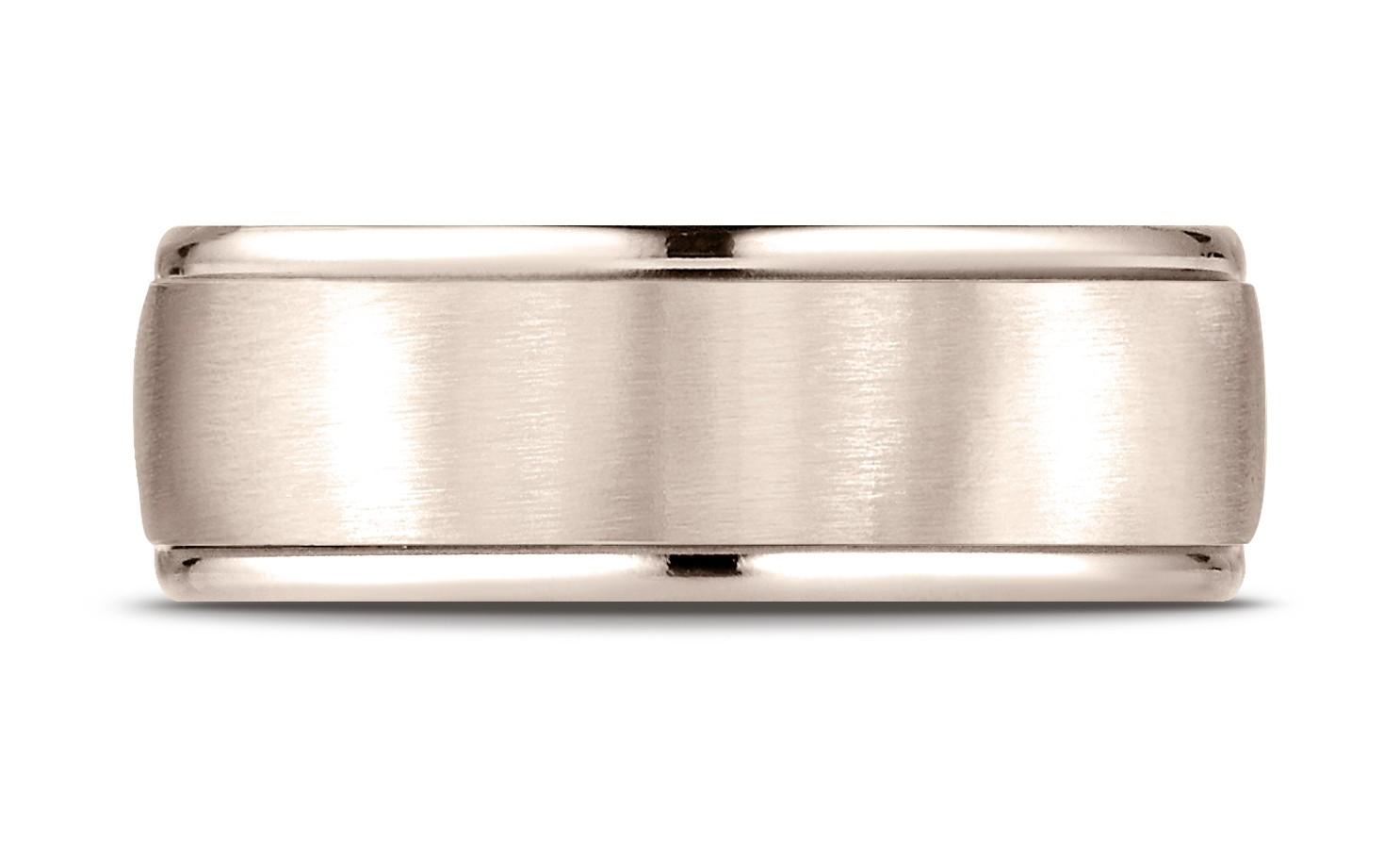 14k Rose Gold 8mm Comfort-fit Satin Finish High Polished Round Edge Carved Design Band
