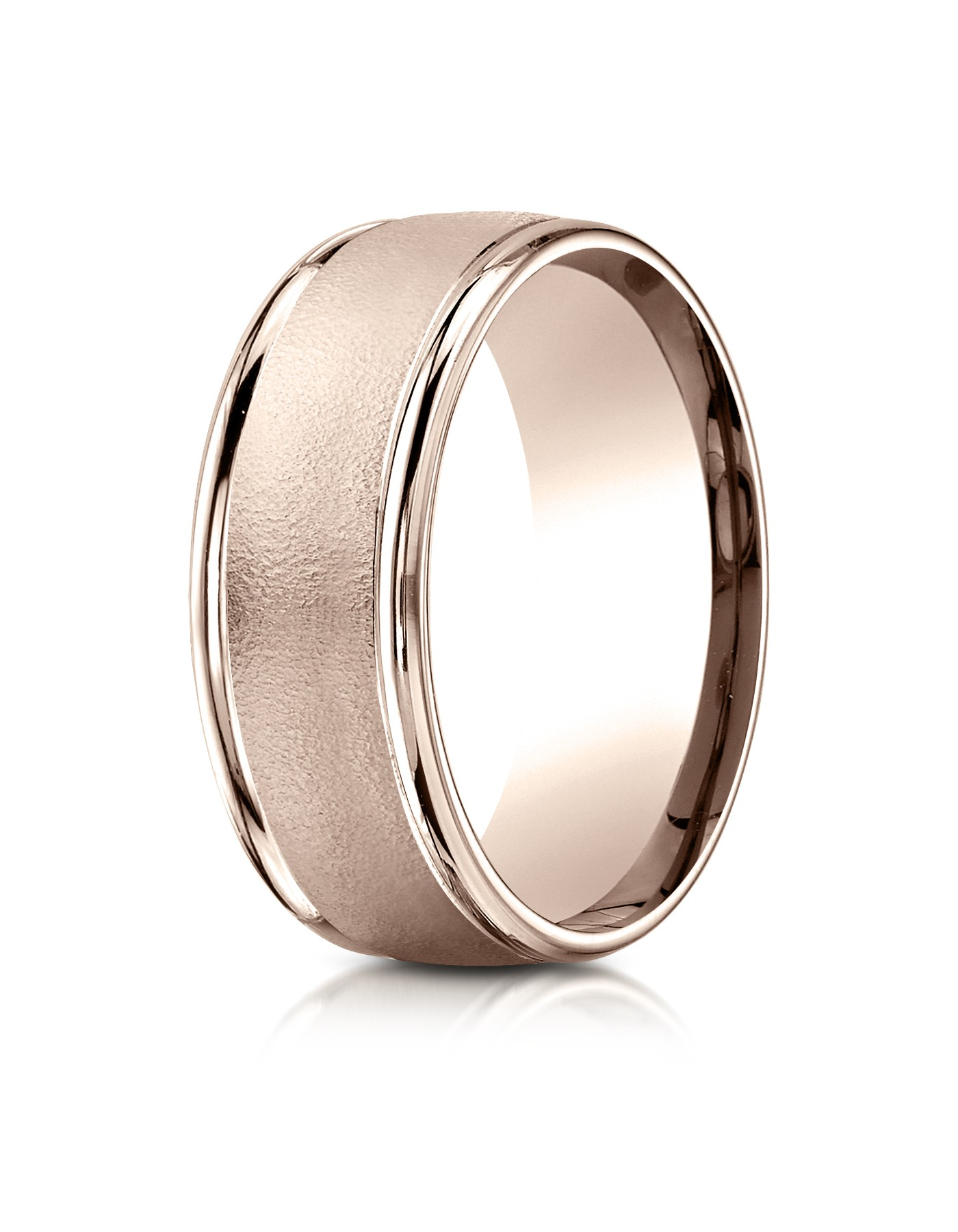 14k Rose Gold 8mm Comfort-fit Wire Brush Finish High Polished Round Edge Carved Design Band