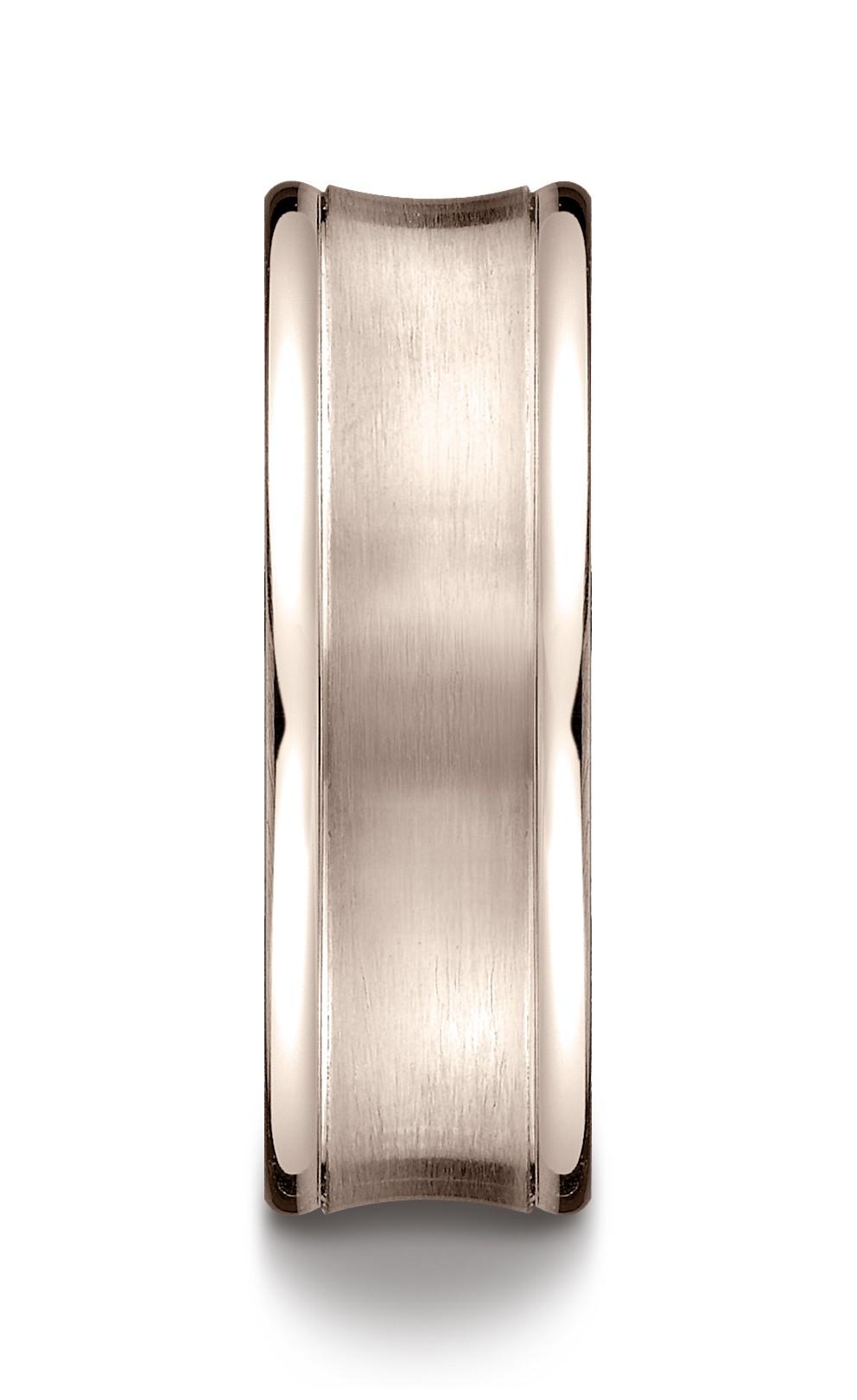 14k Rose Gold 7.5mm Comfort-fit Satin-finished Concave Round Edge Carved Design Band