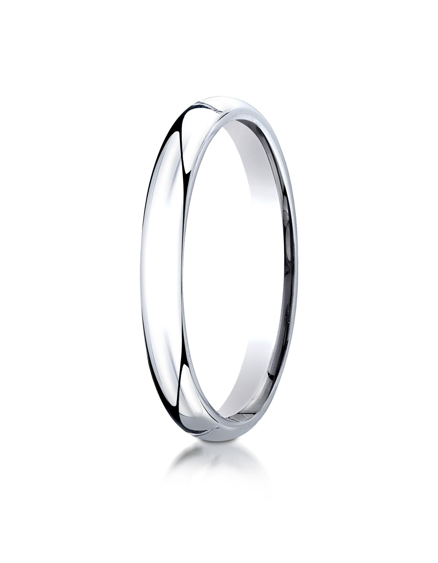 14k White Gold 3mm Slightly Domed Super Light Comfort-fit Ring