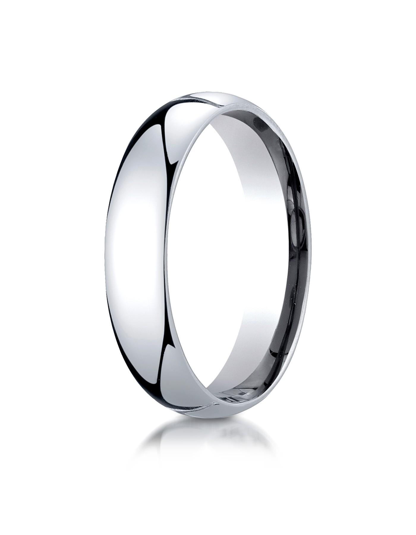 14k White Gold 5mm Slightly Domed Super Light Comfort-fit Ring