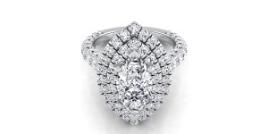 Marquise Diamond Double  Halo Engagement Ring With A Pave Shank In 14k White Gold (2-1/5 Ct.tw.)