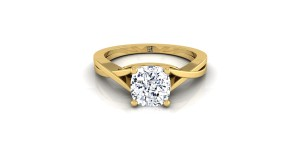 Cushion Cut Diamond Solitaire Engagement Ring With Cathedral Setting In 14k Yellow Gold