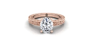 Oval Diamond Solitaire Engagement Ring With Scroll Detail Shank In 14k Rose Gold