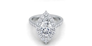 Marquise Diamond Halo Engagement Ring With Pave Shank In 14k White Gold (2/3 Ct.tw.)