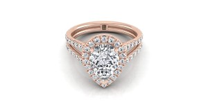 Pear Shape Diamond Halo Engagement Ring With A Split Shank In 14k Rose Gold (7/8 Ct.tw.)