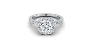 Cushion Cut Diamond Halo Engagement Ring With Graduated Pave Shank In 14k White Gold (1/4 Ct.tw.)