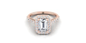 Emerald Cut Diamond Halo Engagement Ring With Pave Shank In 14k Rose Gold (1/2 Ct.tw.)