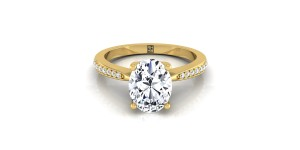 Oval Diamond Solitaire Engagement Ring With Pave Shank In 14k Yellow Gold (1/8 Ct.tw.)