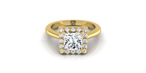 Princess Cut Diamond Halo Engagement Ring In 14k Yellow Gold (1/5 Ct.tw.)