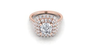Cushion Cut Diamond Double Halo  Engagement Ring With Diamond Pave Shank In 14k Rose Gold (3/4 Ct.tw.)