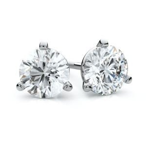 18k White Gold 3-prong Martini Round Diamond Stud Earrings 1/3ctw (3.5mm Ea), H-i Color, Vs Clarity