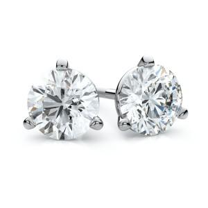 14k White Gold 3-prong Martini Round Diamond Stud Earrings 2ctw (6.5mm Ea), H-i Color, Vs Clarity