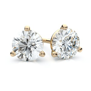 18k Yellow Gold 3-prong Martini Round Diamond Stud Earrings 2ctw (6.5mm Ea), H-i Color, Vs Clarity