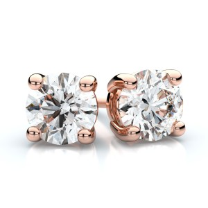 Igi Certified 14k Rose Gold 4-prong Round Diamond Stud Earrings 3/4ctw (4.5mm Ea), F-g Color, Vs Clarity
