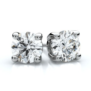 Platinum 4-prong Round Diamond Stud Earrings 1ctw (5.00mm Ea), H-i Color, Si Clarity