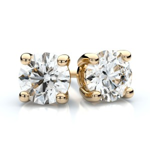 18k Yellow Gold 4-prong Round Diamond Stud Earrings .75 Ct. Tw. (H-I, VS)