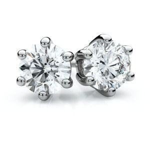 14k White Gold 6-prong Round Diamond Stud Earrings 1 Ct. Tw. (H-I, VS)