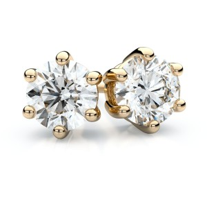 14k Yellow Gold 6-prong Round Diamond Stud Earrings .25 Ct. Tw. (F-G, VS)