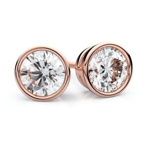 18kr Bezel Round Diamond Stud Earrings 1/3ctw (3.4mm Ea), H-i Color, Vs Clarity
