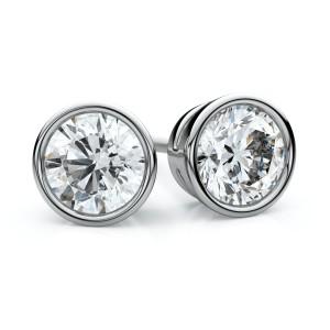 14k White Gold Bezel Round Diamond Stud Earrings 1/3ctw (3.4mm Ea), F-g Color, Vs Clarity