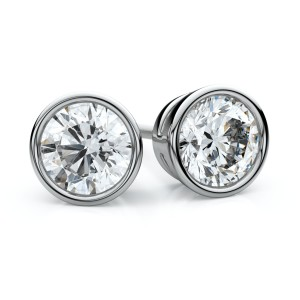 14k White Gold Bezel Round Diamond Stud Earrings .75 Ct. Tw. (H-I, VS)