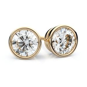 14k Yellow Gold Bezel Round Diamond Stud Earrings 3/4ctw (4.5mm Ea), H-i Color, Vs Clarity