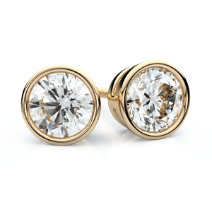 18k Yellow Gold Bezel Round Diamond Stud Earrings 1.50 Ct. Tw. (H-I, SI)