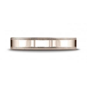 14k Rose Gold 4mm Flat Comfort-fit Ring With Milgrain