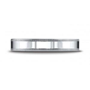 Platinum 4mm Flat Comfort-fit Ring With Milgrain