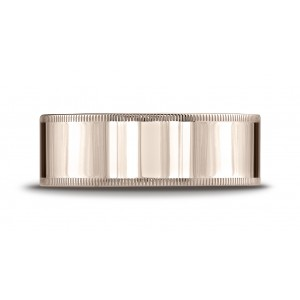14k Rose Gold 8mm Flat Comfort-fit Ring With Milgrain