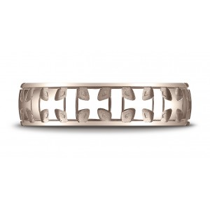 14k Rose Gold 6mm Comfort-fit Gaelic Cross Carved Design Band