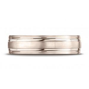 14k Rose Gold 6mm Comfort-fit Satin-finished With Parallel Grooves Carved Design Band