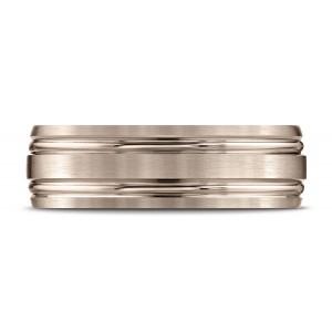 14k Rose Gold 7mm Comfort-fit Satin-finished With Parallel Grooves Carved Design Band