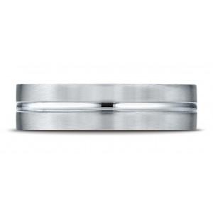 Platinum 6mm Comfort-fit Satin-finished With High Polished Center Cut Carved Design Band