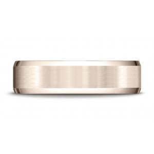 14k Rose Gold 6mm Comfort-fit Satin-finished With High Polished Beveled Edge Carved Design Band