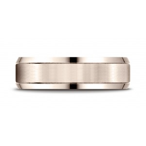 14k Rose Gold 6mm Comfort-fit Satin-finished High Polished Beveled Edge Carved Design Band